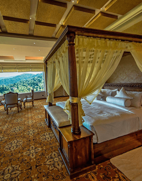 Double Bed overviewing  a scenic view
